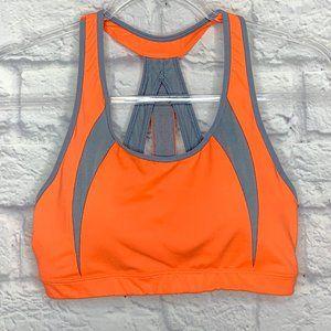 Ahtleta Sports Bra Neon Orange Gray Mesh Size M